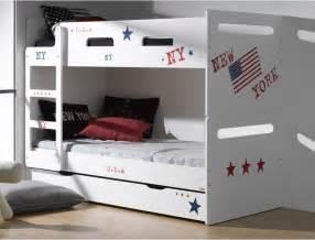 chambre lit blanc lits superposés pour enfants feroe blanc