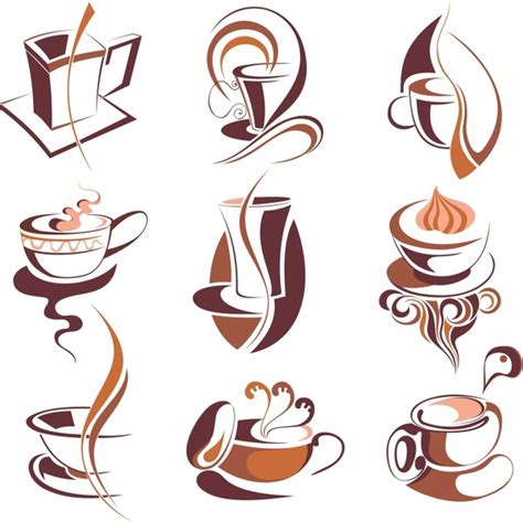 Coffee cup cafe drawing, hand painted brown coffee cup, watercolor painting, brown png. Coffee icons collection brown cup curved lines decor Free vector in Encapsulated PostScript eps ...