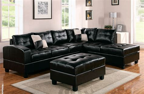 Sofa Schwarz Leder by Modern Black Leather Sectional Sofa Home Furniture Design