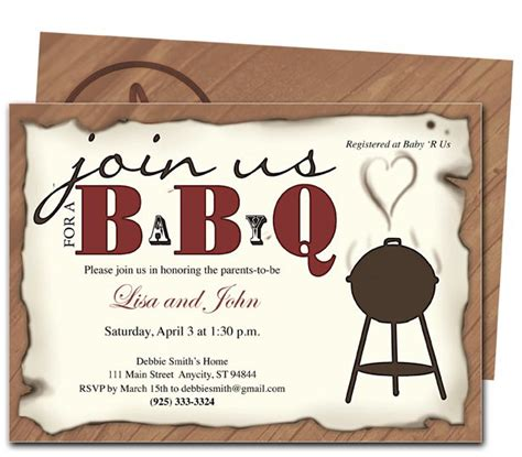 nice  template bbq baby shower invitations