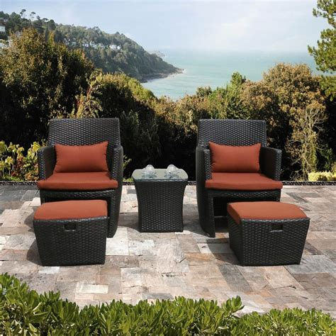 Deals On Outdoor Furniture by Bandio 5 Resin Wicker Outdoor Furniture Set
