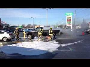 Dodge gas tank catches fire - YouTube
