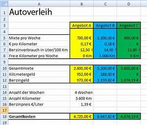 Excel Tabelle Summe Berechnen : l sung autovermietung in excel ~ Themetempest.com Abrechnung