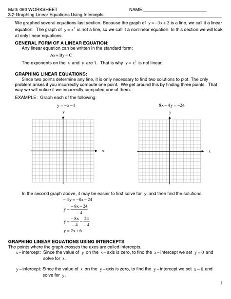 graphing equations of lines worksheet