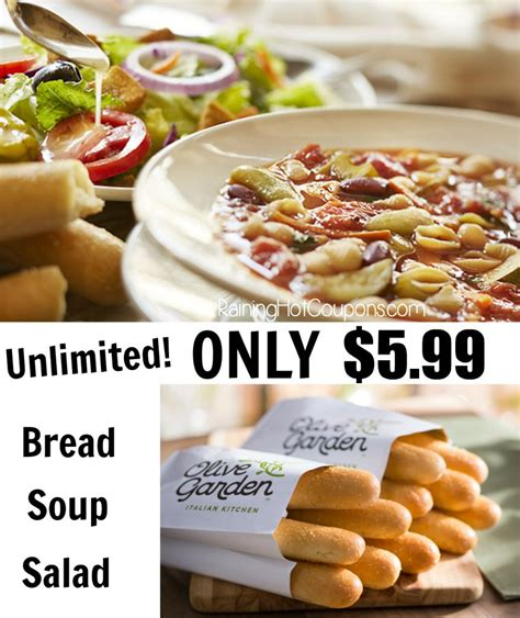 soup and salad olive garden olive garden unlimited soup salad and breadsticks lunch