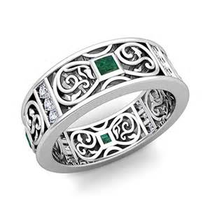 celtic knot wedding bands princess cut celtic emerald wedding band ring for in 18k gold