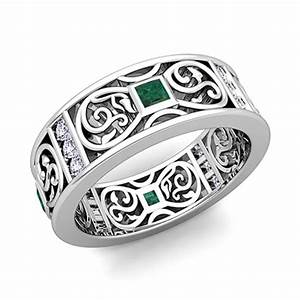 Princess cut celtic emerald wedding band ring for men in for Celtic wedding rings for men