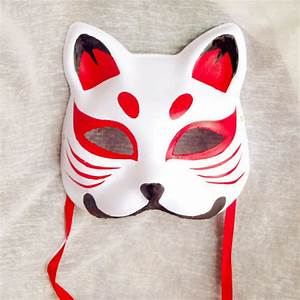 Hand-Painted Half Face Japanese Style Fox Mask Kitsune ...