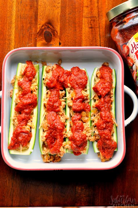 Chicken Parmesan Zucchini Boats by Chicken Parmesan Zucchini Boats My Suburban Kitchen