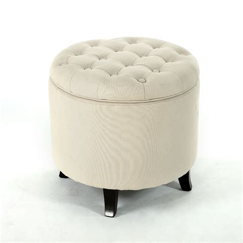 Stools And Ottomans - storage ottoman beige upholstered button tufted foot