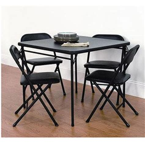 cosco comfort 5 card table set black
