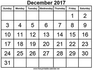 Free Printable Calendars December 2017 Com