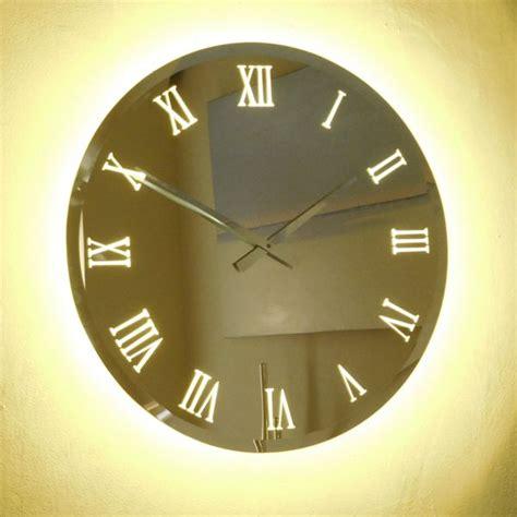 roco verre illuminated bevelled mirror wall clock