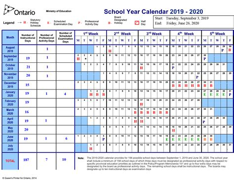 school year calendar north district school board