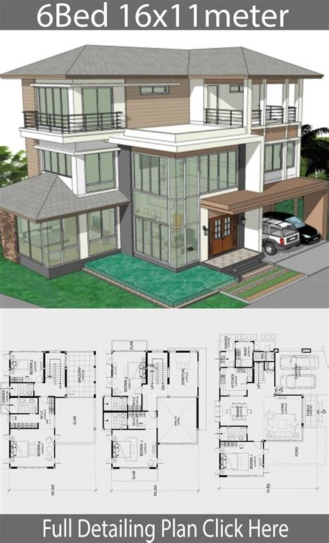 Sims 4 6 bedroom house download! Home design plan 16x11m with 6 bedrooms - House Idea ...