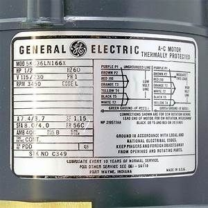 General Electric C349 Thermally Protected  U00bd Hp Ac Motor