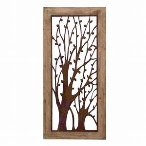 Shop woodland imports 26 in w x 56 in h framed metal for Kitchen cabinets lowes with metal trees wall art