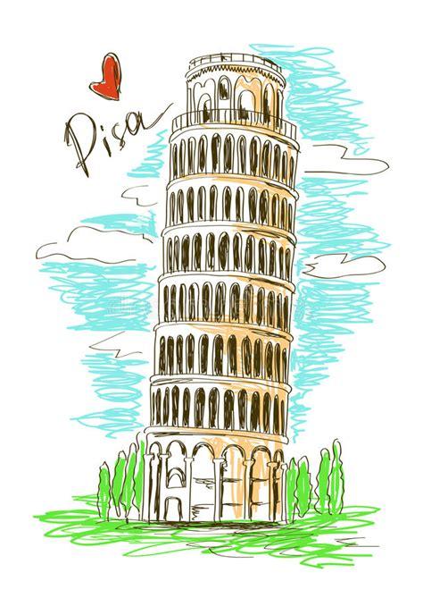 toren van pisa tekening illustratie van de toren van pisa vector illustratie