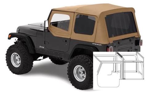 jeep soft top tan 1988 1995 jeep wrangler complete soft top with hardware