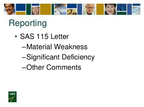 sas 115 letter year end audit preparation 53110
