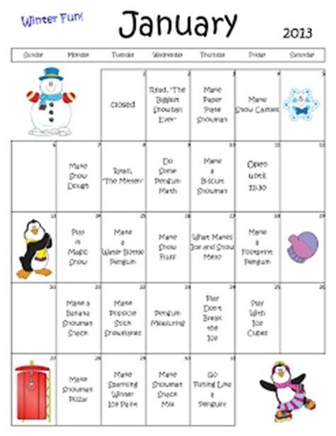 preschool calendar winter fun theme daycare lesson