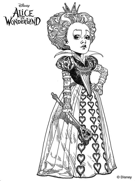 tim burtons alice  wonderland coloring page coloring
