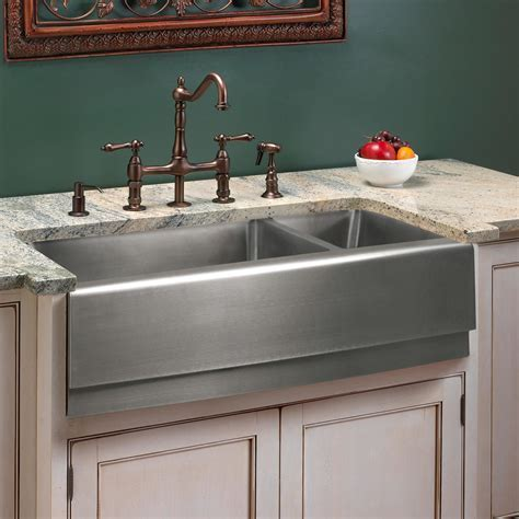 "39"" Optimum Double Bowl Stainless Steel Farmhouse Sink"
