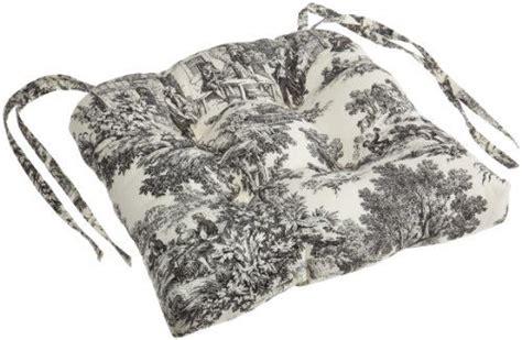 victoria park toile cushioned chair pad black ellis