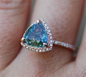rose gold engagement ring 3ct teal blue green sapphire With teal wedding rings