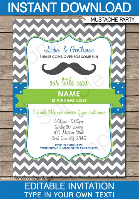mustache party invitations template mustache party