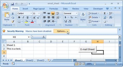 ms excel 2007 email the active worksheet