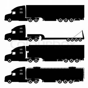 Vector set of silhouettes the cargo trucks. | Stock Vector ...