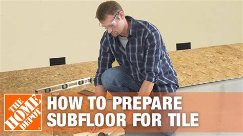Here's some important info new bathroom will have washer/dryer combo in it (stacked) floor. Preparing Subfloor for Tile | The Home Depot - YouTube