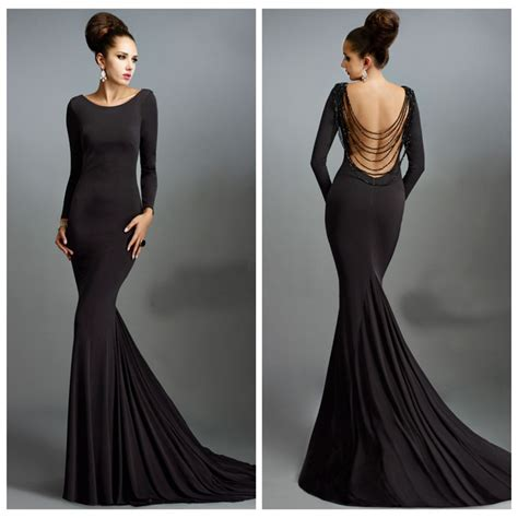 Long Sleeve Beading Backless Black Prom Dress Dresscab