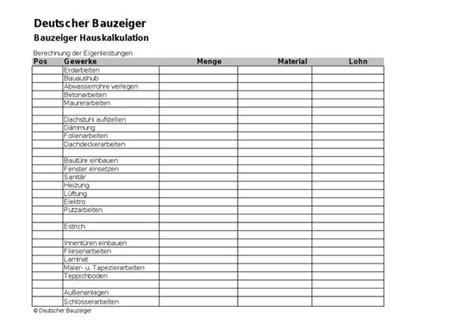 Bautraegerhaus Alles Aus Einer by Eigenleistung Kosten Eigenleistungen Berechnen Berechnung