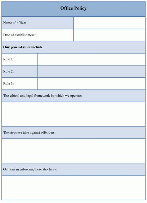 office policy   office policy template sample