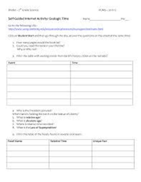 geologic time scale worksheet search middle