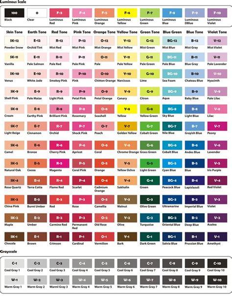 crayola color chart  names alcohol based art marker