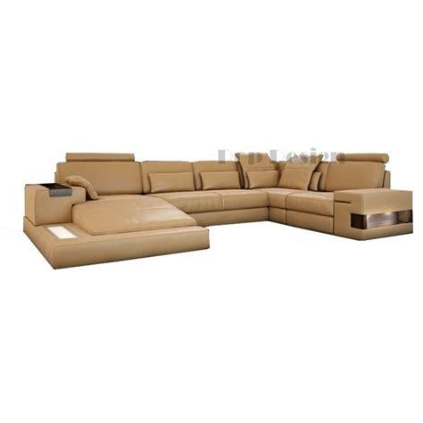 promotion canapé cuir canapé d 39 angle panoramique en cuir cubo avec éclairages