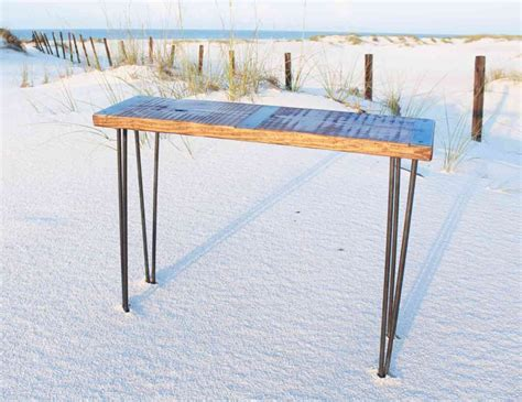 metal sofa table legs metal inlayed reclaimed wood sofa table with hairpin legs
