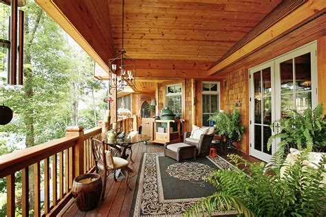 rustic porch stunning spaces charming rustic lakefront home the vht studios blog