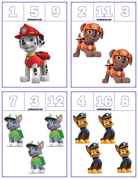 paw patrol number clip cards numbers