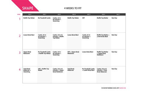 4 Weeks to Fit One-Month Workout Plan for Spring