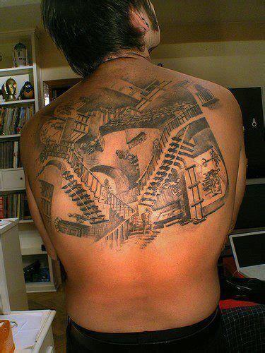 large  tattoo   stairs  relativity  graphic