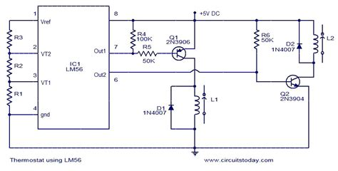 thermostat using lm56 electronic circuits and diagrams