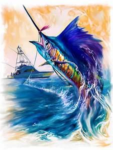 Sailfish And Sportfisher Art Painting by Savlen Art