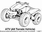 Quad Coloring Atv Pages Wheeler Four Drawing Printable Bike Atvs Drawings sketch template