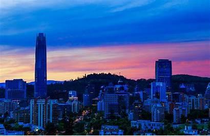 Chile Santiago Skyscrapers Evening Houses Imagenes Cities