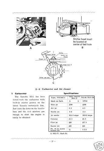 purchase yamaha workshop manual yg1 yg1k ygs1 1963 1964 1965 1966 1967 1968 1969 service