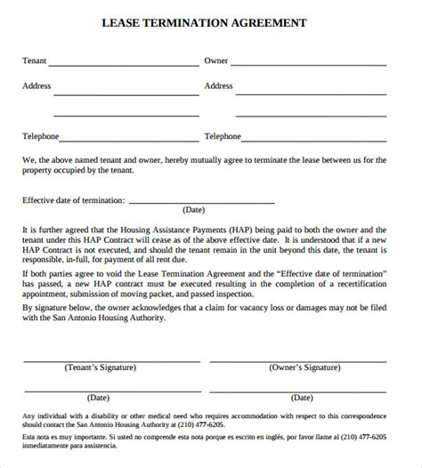 lease termination agreement   word  format